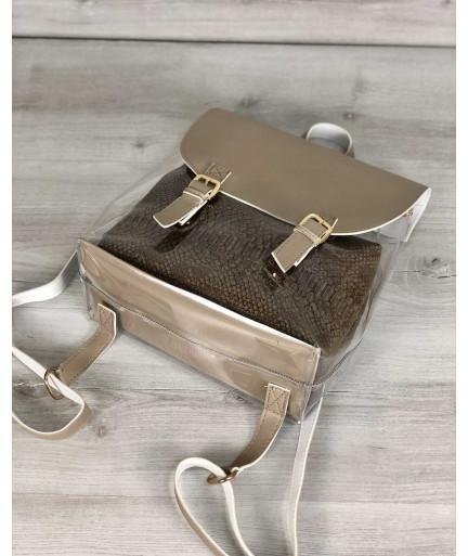 Рюкзак силиконовый женский кофейный с косметичкой
