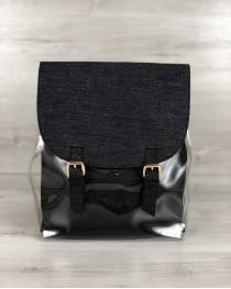 Молодежный силиконовый  рюкзак с косметичкой черный блеск
