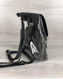 Рюкзак силиконовый  с косметичкой черный блеск