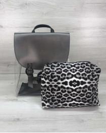 Рюкзак женский силиконовый металлик с косметичкой