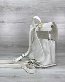 Модный женский рюкзак силиконовый с белой косметичкой