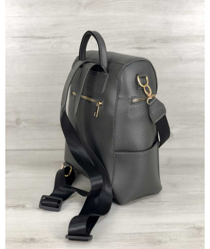 Молодежный сумка-рюкзак Фроги серого цвета