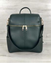 Сумка рюкзак женский «Фроги» зеленого цвета
