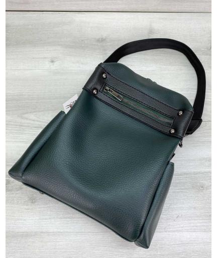 Женский рюкзак сумка «Dacio» темно зеленый
