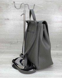 Женский рюкзак «Луи» с замшем серый