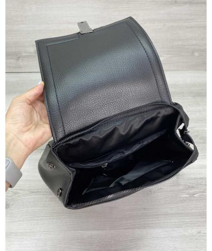 Рюкзак женский «Луи» с замшем черный
