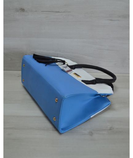 Молодежная женская сумка Кисточка голубая комбинированная