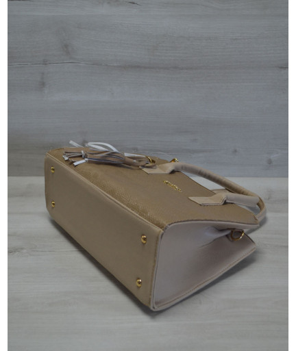 Молодежная женская сумка Кисточка кофейная рептилия