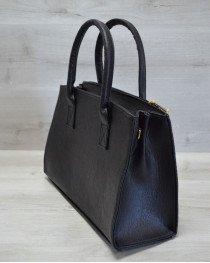 Молодежная женская сумка Кисточка серая змея с черным гладким