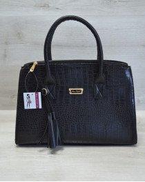 Молодежная женская сумка Кисточка черный крокодил