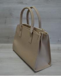 Молодежная женская сумка Кисточка бежевые кружева