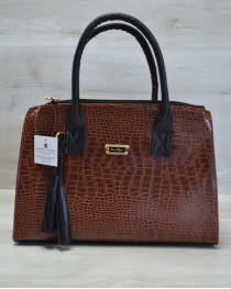 Молодежная женская сумка Кисточка рыжий крокодил с черным гладким