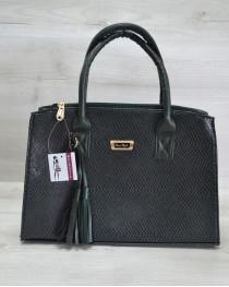 Молодежная женская сумка Кисточка зеленая змея