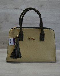 Молодежная женская сумка Кисточка оливковый гладкий