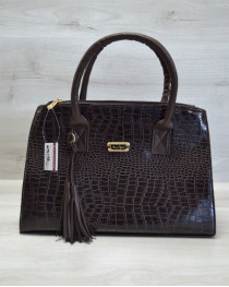 Молодежная женская сумка Кисточка коричневый крокодил