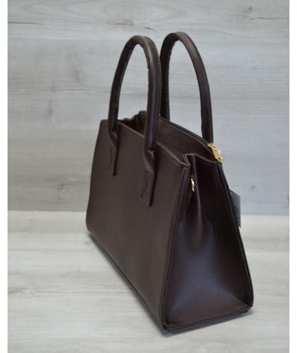 Молодежная женская сумка Кисточка коричневая рептилия