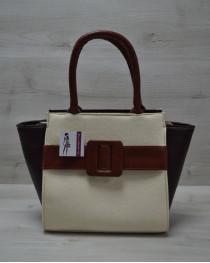 Молодежная женская сумка Комбинированная бежевого цвета с рыжим ремнем