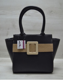Молодежная женская сумка Комбинированная черного цвета с кофейным ремнем