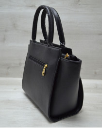 Молодежная женская сумка Комбинированная черного цвета с коричневым барбери ремнем