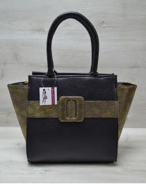 Молодежная женская сумка Комбинированная черного цвета с золотым ремнем
