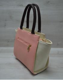 Молодежная женская сумка Комбинированная пудрового цвета с коричневым ремнем