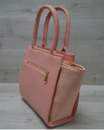 Молодежная женская сумка Комбинированная пудрового цвета с пудровым ремнем