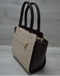 Молодежная женская сумка Комбинированная бежевые кружева с коричневым ремнем