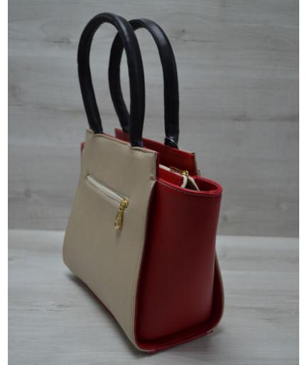 Молодежная женская сумка Комбинированная кофейного цвета с черным ремнем