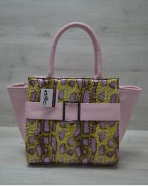 Молодежная женская сумка Ремень желтая змея с розовым гладким