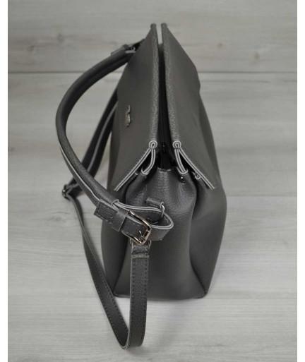 Сумка три отделения серого цвета (никель)
