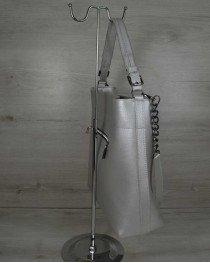 Сумка- цепочка серебряного цвета (никель)
