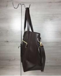 Сумка Кисточка с классическим ремнем коричневого цвета