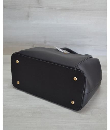 Сумка с карманом на кнопке черного цвета