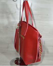 Сумка с кошельком красного цвета