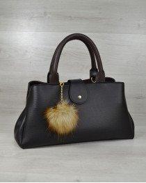 Молодежная сумка Альба черная с коричневым