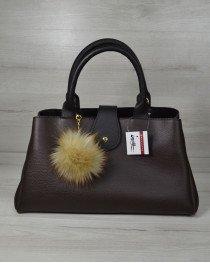 Молодежная сумка Альба коричневая с черным