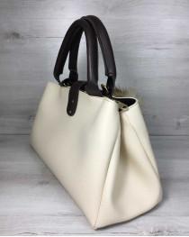 Молодежная сумка Альба бежевого с коричневым цвета