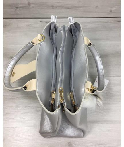 Молодежная сумка Альба серебряного цвета