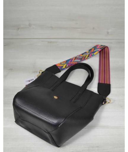 Молодежная женская сумка Милана  с Ярким ремнем черного цвета