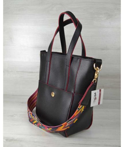 Молодежная женская сумка Милана  с Ярким ремнем черная с красными торцами