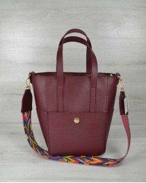 Молодежная женская сумка Милана  с Ярким ремнем бордового цвета