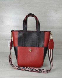 Молодежная женская сумка Милана  с Ярким ремнем черная с красным