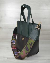Молодежная женская сумка Милана  с Ярким ремнем черная с зеленым