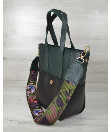 Молодежная женская сумка Милана черная с зеленым