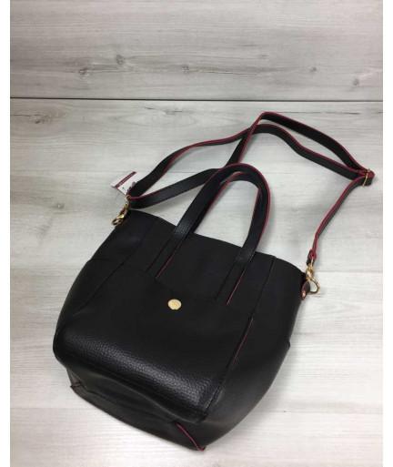 Молодежная женская сумка Миланас класическим ремнем черная с красными торцами