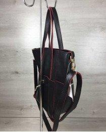 Молодежная женская сумка Милана  с класическим ремнем черная с красными торцами