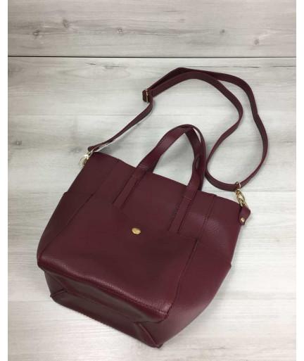 Молодежная женская сумка Миланас классическим ремнем бордового цвета