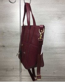 Молодежная женская сумка Милана  с классическим ремнем бордового цвета