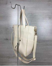 Молодежная женская сумка Милана  с классическим ремнем бежевого цвета