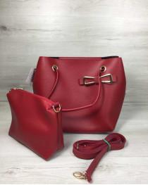 Женская сумка «Бантик» 2 в 1 красного цвета